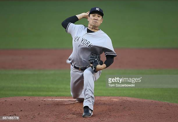 Masahiro Tanaka of the New York Yankees delivers a pitch in the first inning during MLB game action against the Toronto Blue Jays on June 1 2016 at...