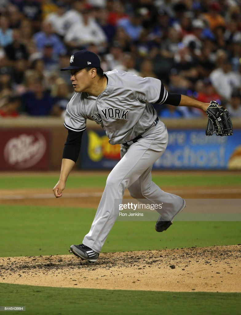 Masahiro Tanaka #19 of the New York Yankees delivers against the Texas Rangers during the fourth inning at Globe Life Park in Arlington on September 8, 2017 in Arlington, Texas.