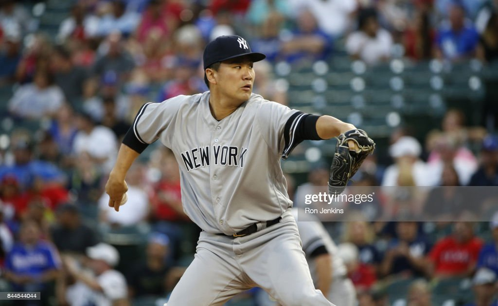 Masahiro Tanaka #19 of the New York Yankees delivers against the Texas Rangers during the first inning at Globe Life Park in Arlington on September 8, 2017 in Arlington, Texas.