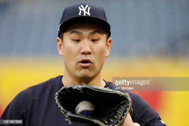 Masahiro Tanaka of the New York Yankees during batting practice against the Boston Red Sox before Game Three of the American League Division Series...
