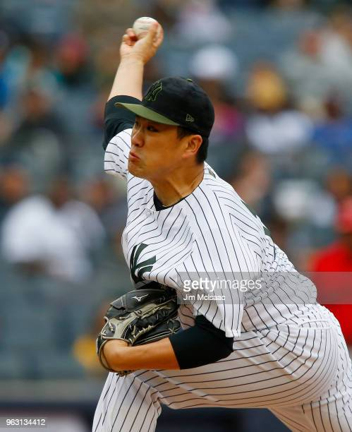 Masahiro Tanaka of the New York Yankees in action against the Los Angeles Angels of Anaheim at Yankee Stadium on May 27 2018 in the Bronx borough of...