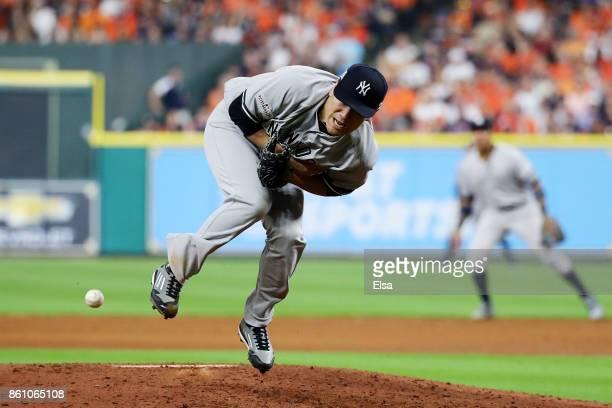 Masahiro Tanaka of the New York Yankees is hit by a ball off of the bat of Josh Reddick of the Houston Astros in the sixth inning during game one of...