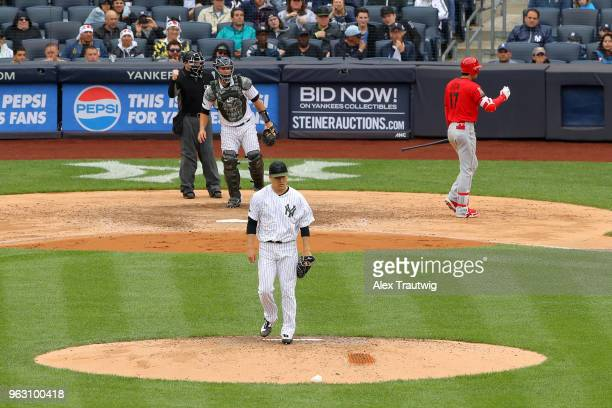 Masahiro Tanaka of the New York Yankees looks on after striking out Shohei Ohtani of the Los Angeles Angels during a game at Yankee Stadium on Sunday...