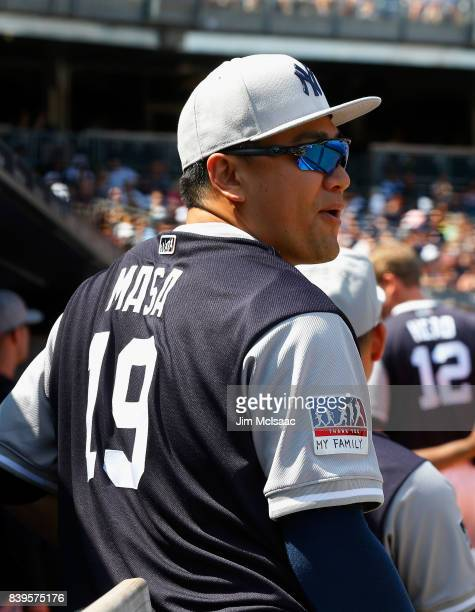 Masahiro Tanaka of the New York Yankees looks on during the second inning against the Seattle Mariners at Yankee Stadium on August 26 2017 in the...