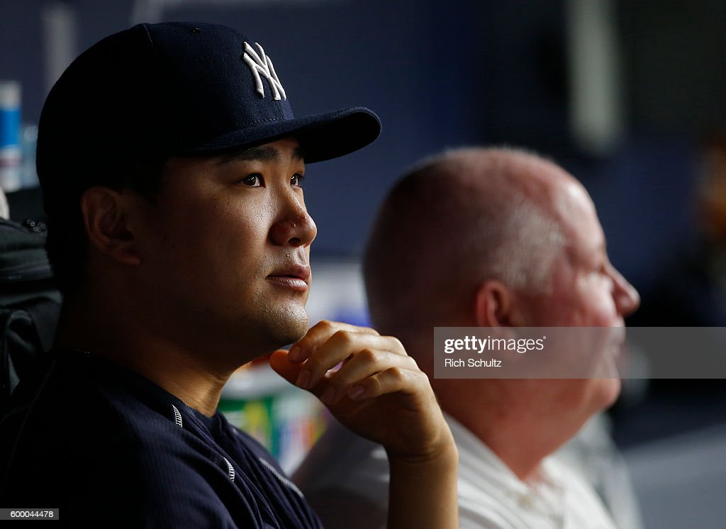 Masahiro Tanaka #19 of the New York Yankees looks on during the seventh inning of a game against the Toronto Blue Jays at Yankee Stadium on September 7, 2016 in the Bronx borough of New York City. The Yankees defeated the Bluejays 2-0.
