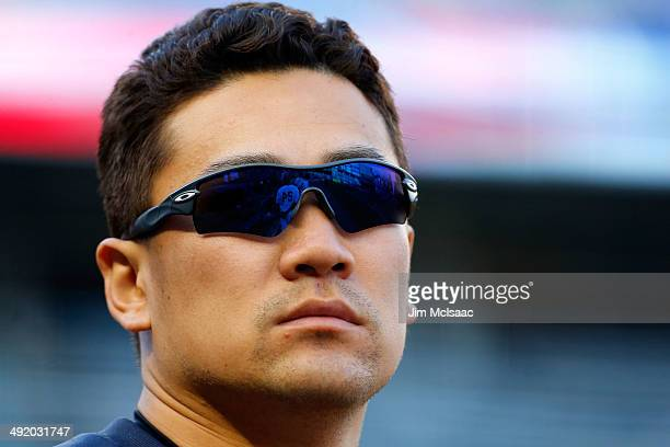 Masahiro Tanaka of the New York Yankees looks on in the seventh inning against the Pittsburgh Pirates at Yankee Stadium on May 18 2014 in the Bronx...