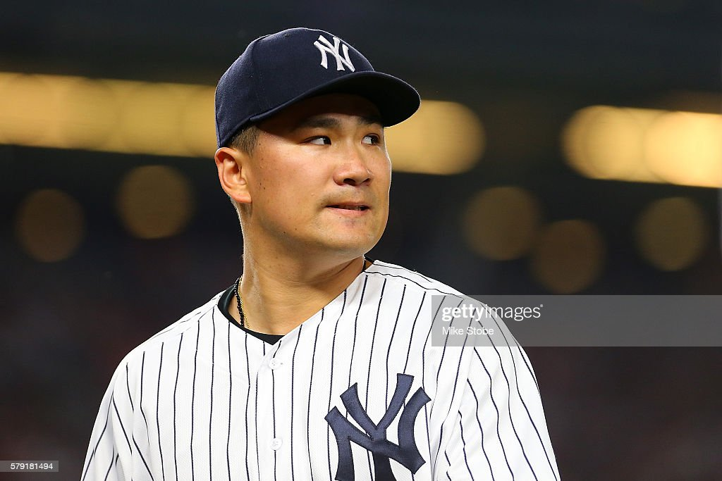 Masahiro Tanaka #19 of the New York Yankees looks on in the sixth inning against the San Francisco Giants at Yankee Stadium on July 22, 2016 in the Bronx borough of New York City. Yankees defeated the Giants 3-2.