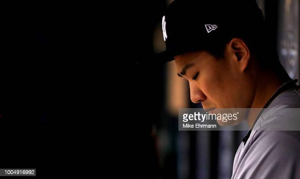 Masahiro Tanaka of the New York Yankees looks on in the third inning during a game against the Tampa Bay Rays at Tropicana Field on July 24, 2018 in...