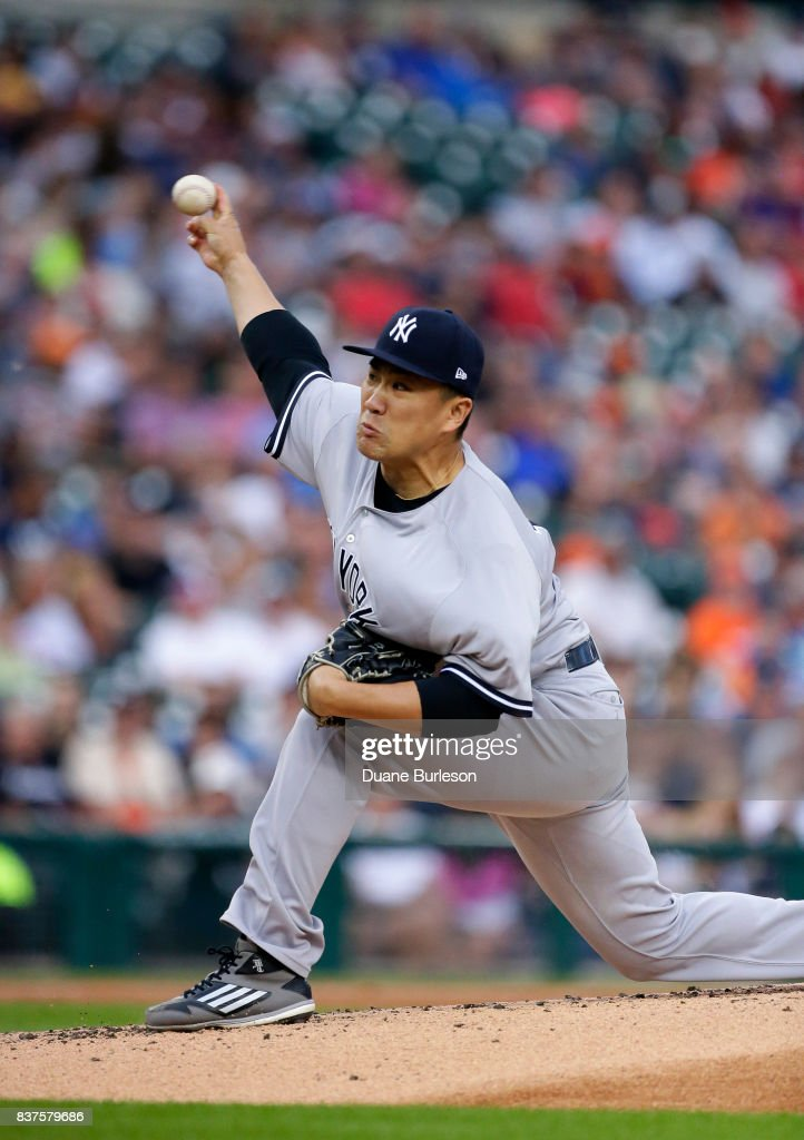 Masahiro Tanaka #19 of the New York Yankees pitches against the Detroit Tigers during the first inning at Comerica Park on August 22, 2017 in Detroit, Michigan.