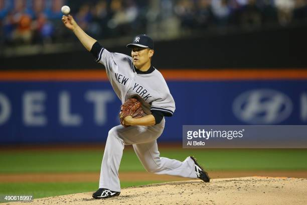 Masahiro Tanaka of the New York Yankees pitches against the New York Mets during their game on May 14 2014 at Citi Field in the Flushing neighborhood...