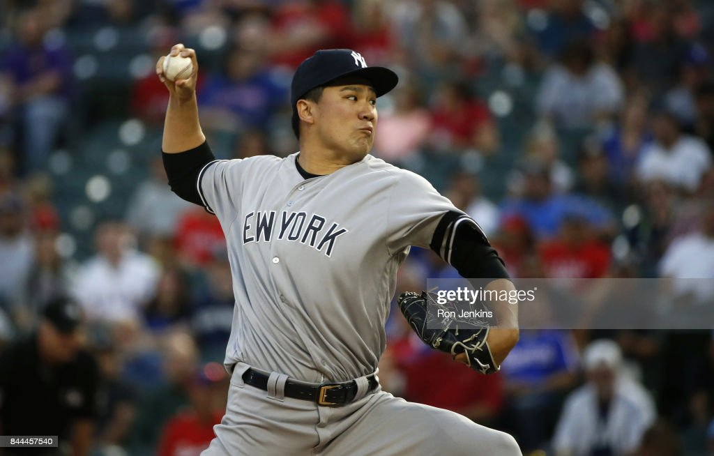 Masahiro Tanaka #19 of the New York Yankees pitches against the Texas Rangers during the first inning at Globe Life Park in Arlington on September 8, 2017 in Arlington, Texas.