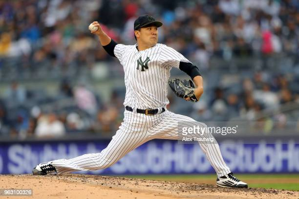 Masahiro Tanaka of the New York Yankees pitches during a game against the Los Angeles Angels at Yankee Stadium on Sunday May 27 2018 in the Bronx...