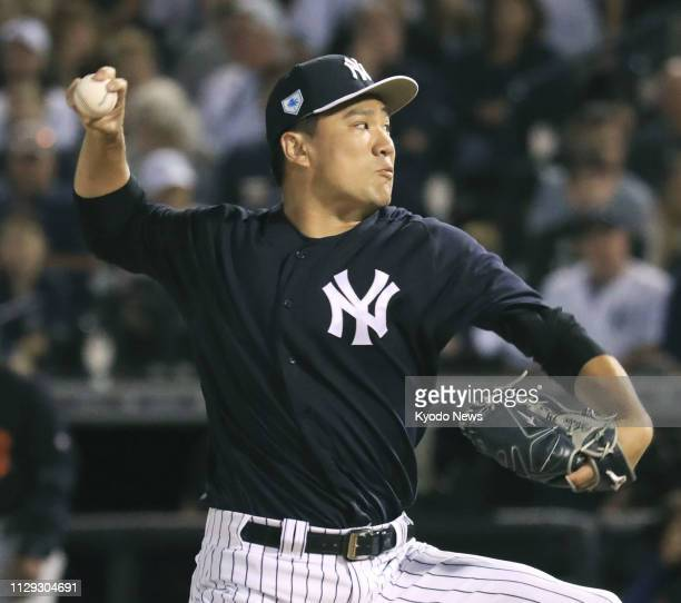 Masahiro Tanaka of the New York Yankees pitches during a spring training game against the Detroit Tigers in Tampa Florida on March 8 2019 ==Kyodo