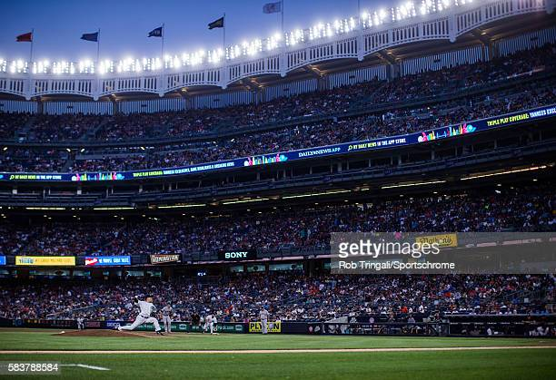Masahiro Tanaka of the New York Yankees pitches during the game against the San Francisco Giants at Yankee Stadium on July 22 2016 in the Bronx...