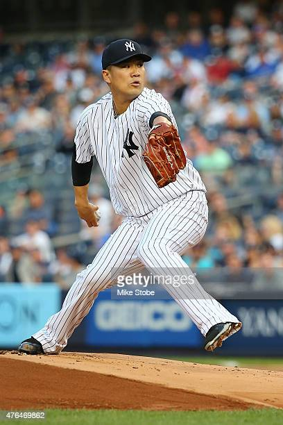 Masahiro Tanaka of the New York Yankees pitches in the first inning against the Washington Nationals at Yankee Stadium on June 9 2015 in the Bronx...