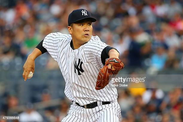 Masahiro Tanaka of the New York Yankees pitches in the first inning against the Tampa Bay Rays at Yankee Stadium on July 3, 2015 in the Bronx borough...