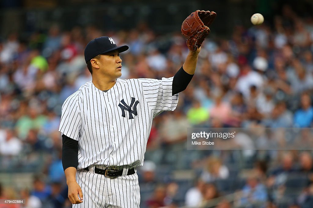 Masahiro Tanaka #19 of the New York Yankees pitches in the first inning against the Tampa Bay Rays at Yankee Stadium on July 3, 2015 in the Bronx borough of New York City. Yankees defeated the Rays 7-5 in twelfth inning