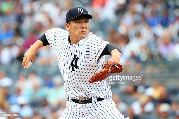 Masahiro Tanaka of the New York Yankees pitches in the first inning against the Oakland Athletics at Yankee Stadium on July 9 2015 in the Bronx...