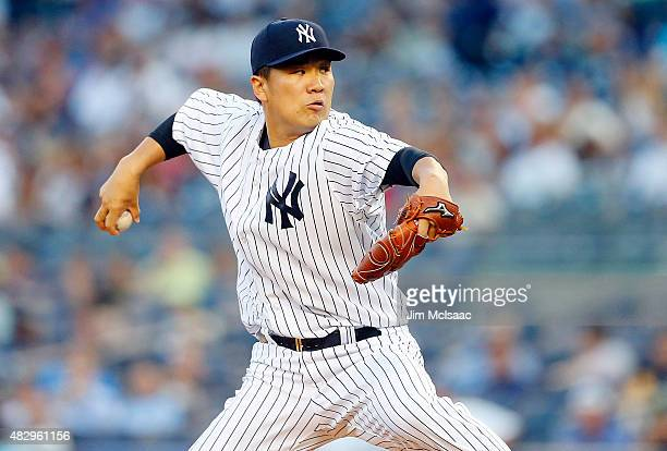 Masahiro Tanaka of the New York Yankees pitches in the first inning against the Boston Red Sox at Yankee Stadium on August 4 2015 in the Bronx...