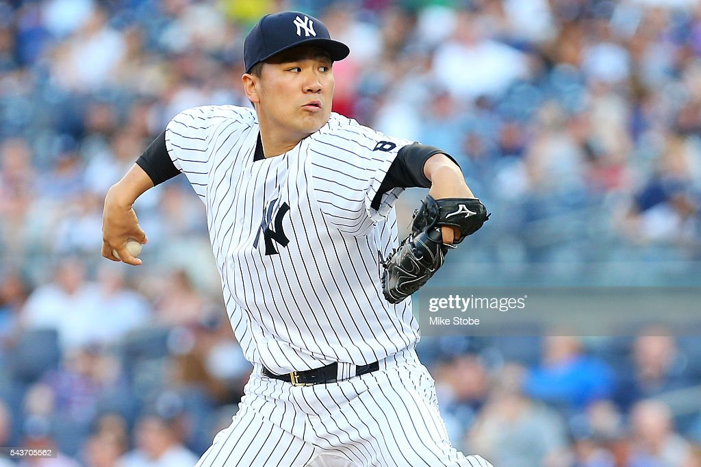 Masahiro Tanaka #19 of the New York Yankees pitches in the first inning against the Texas Rangers at Yankee Stadium on June 29, 2016 in the Bronx borough of New York City.