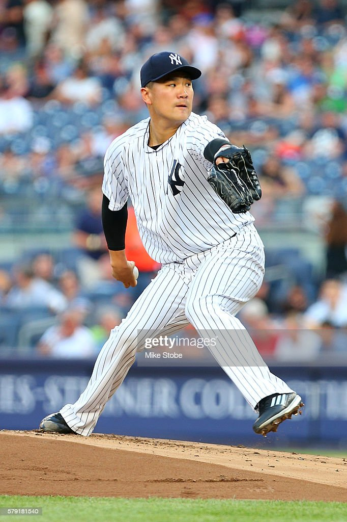Masahiro Tanaka #19 of the New York Yankees pitches in the first inning against the San Francisco Giants at Yankee Stadium on July 22, 2016 in the Bronx borough of New York City. Yankees defeated the Giants 3-2.