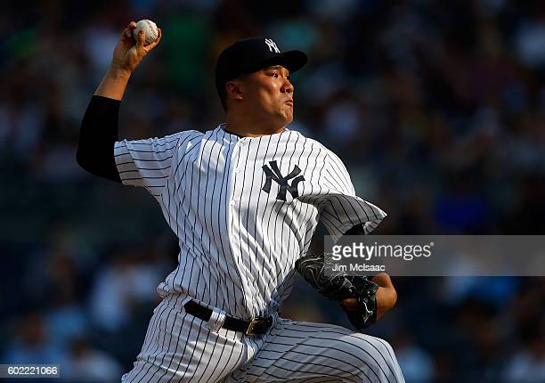 Masahiro Tanaka of the New York Yankees pitches in the first inning against the Tampa Bay Rays at Yankee Stadium on September 10 2016 in the Bronx...