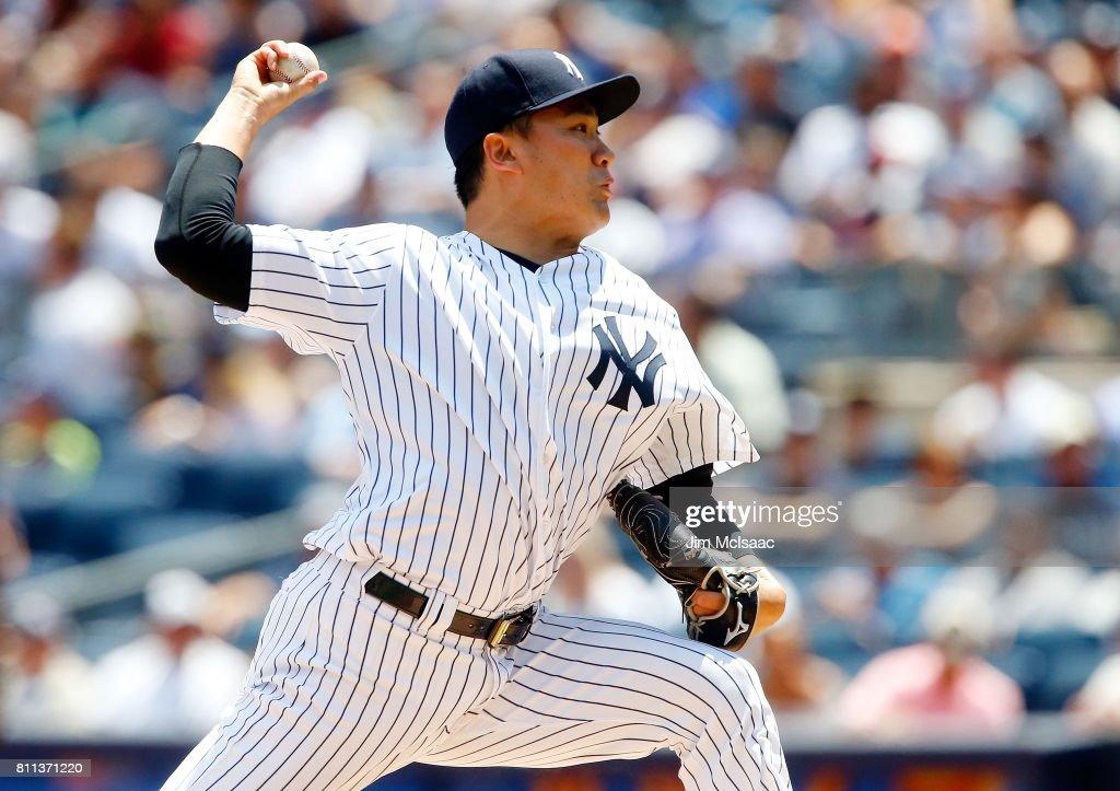 Masahiro Tanaka #19 of the New York Yankees pitches in the first inning against the Milwaukee Brewers at Yankee Stadium on July 9, 2017 in the Bronx borough of New York City.