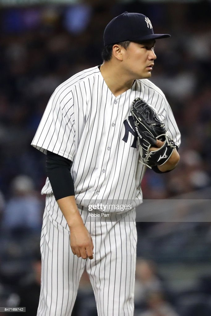 Masahiro Tanaka #19 of the New York Yankees pitches in the first inning of a game against the Baltimore Orioles at Yankee Stadium on September 14, 2017 in the Bronx Borough of New York City.