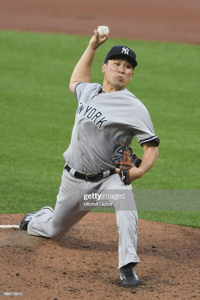 Masahiro Tanaka #19 of the New York Yankees pitches in the forth inning during a baseball game against the Baltimore Orioles at Oriole Park at Camden Yards on July 10, 2018 in Baltimore, Maryland.
