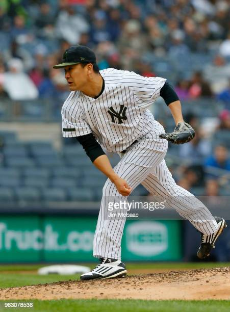 Masahiro Tanaka of the New York Yankees pitches in the fourth inning against the Los Angeles Angels of Anaheim at Yankee Stadium on May 27 2018 in...