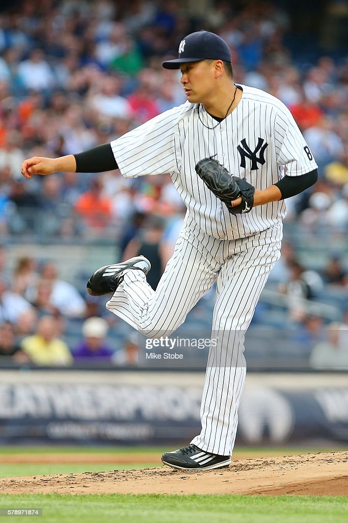 Masahiro Tanaka #19 of the New York Yankees pitches in the second inning gainst the San Francisco Giants at Yankee Stadium on July 22, 2016 in the Bronx borough of New York City.