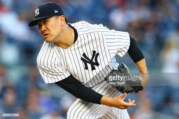 Masahiro Tanaka of the New York Yankees pitches in the second inning against the Oakland Athletics at Yankee Stadium on May 26 2017 in the Bronx...