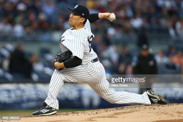 Masahiro Tanaka of the New York Yankees pitches in the second inning against the Boston Red Sox at Yankee Stadium on June 6 2017 in the Bronx borough...