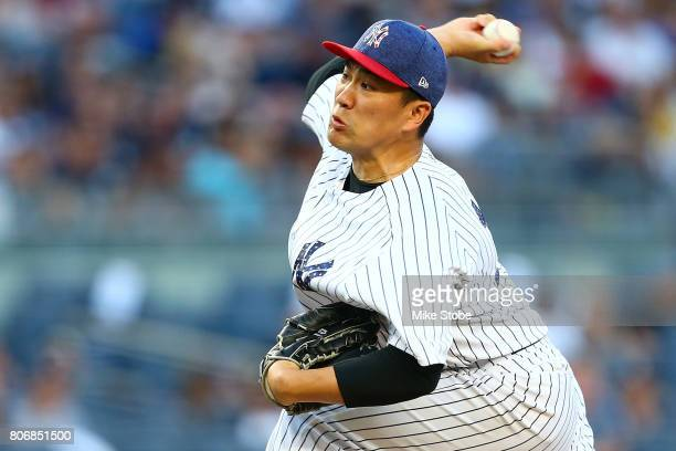 Masahiro Tanaka of the New York Yankees pitches in the second inning against the Toronto Blue Jays at Yankee Stadium on July 3 2017 in the Bronx...