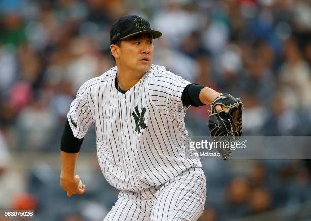 Masahiro Tanaka of the New York Yankees pitches in the second inning against the Los Angeles Angels of Anaheim at Yankee Stadium on May 27 2018 in...