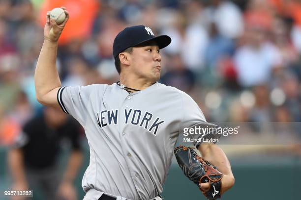 Masahiro Tanaka of the New York Yankees pitches in the second inning during a baseball game against the Baltimore Orioles at Oriole Park at Camden...