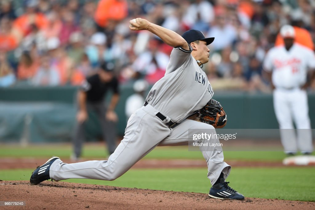 Masahiro Tanaka #19 of the New York Yankees pitches in the second inning during a baseball game against the Baltimore Orioles at Oriole Park at Camden Yards on July 10, 2018 in Baltimore, Maryland.