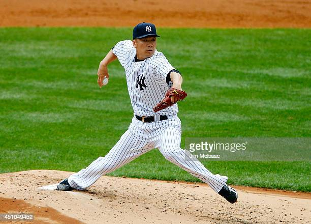 Masahiro Tanaka of the New York Yankees pitches in the third inning against the Baltimore Orioles at Yankee Stadium on June 22 2014 in the Bronx...