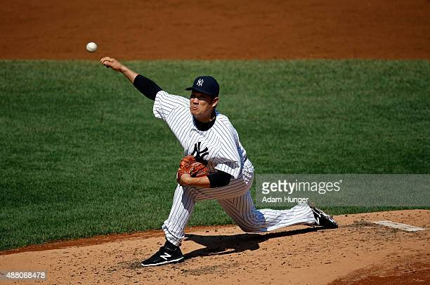 Masahiro Tanaka of the New York Yankees pitches in the third inning against the Toronto Blue Jays at Yankee Stadium on September 13 2015 in the Bronx...