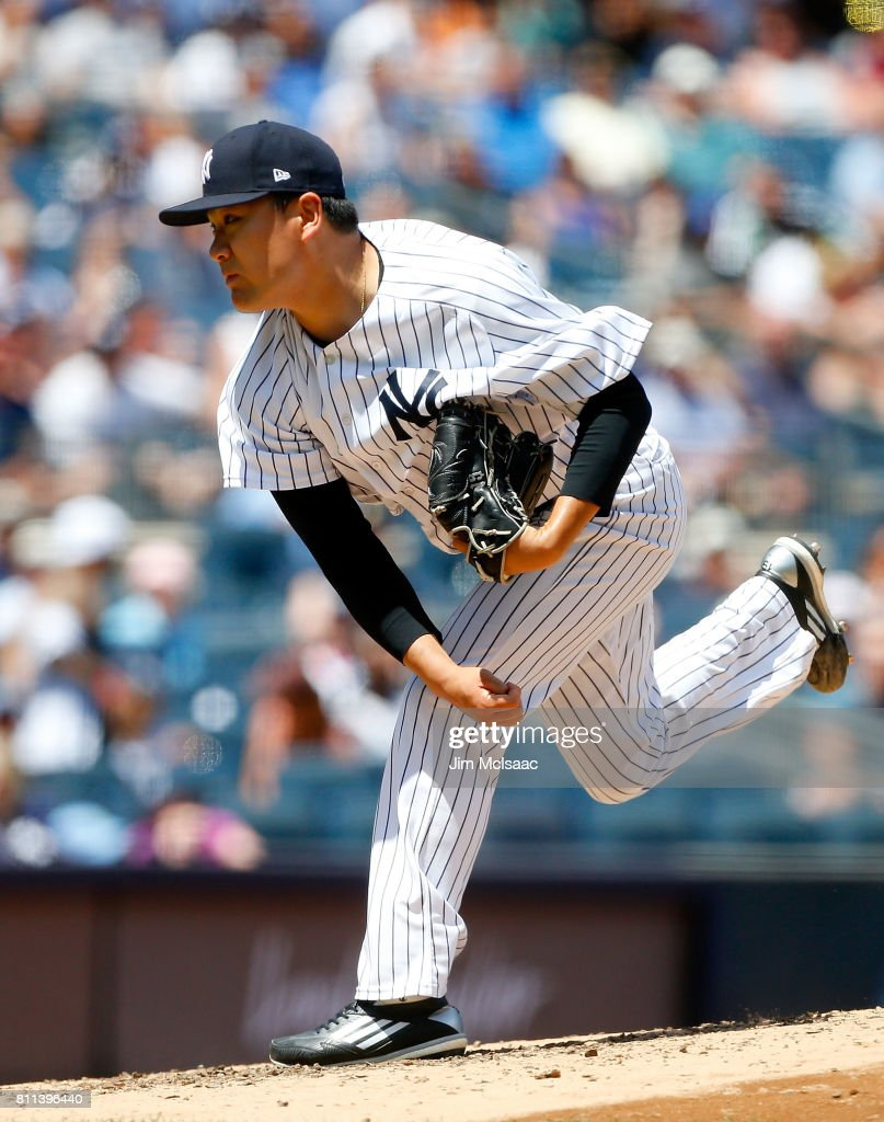 Masahiro Tanaka #19 of the New York Yankees pitches in the third inning against the Milwaukee Brewers at Yankee Stadium on July 9, 2017 in the Bronx borough of New York City.
