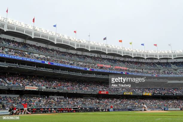 Masahiro Tanaka of the New York Yankees pitches to Shohei Ohtani of the Los Angeles Angels during a game at Yankee Stadium on Sunday May 27 2018 in...