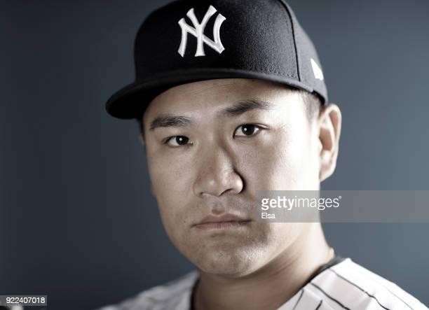 Masahiro Tanaka of the New York Yankees poses for a portrait during the New York Yankees photo day on February 21, 2018 at George M. Steinbrenner...