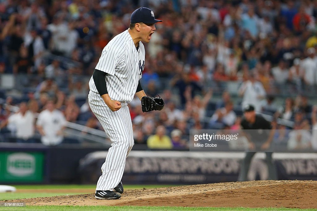 Masahiro Tanaka #19 of the New York Yankees pumps his fist after striking out Gregor Blanco #7 of the San Francisco Giants with the bases loaded in the fourth inning at Yankee Stadium on July 22, 2016 in the Bronx borough of New York City. Yankees defeated the Giants 3-2.