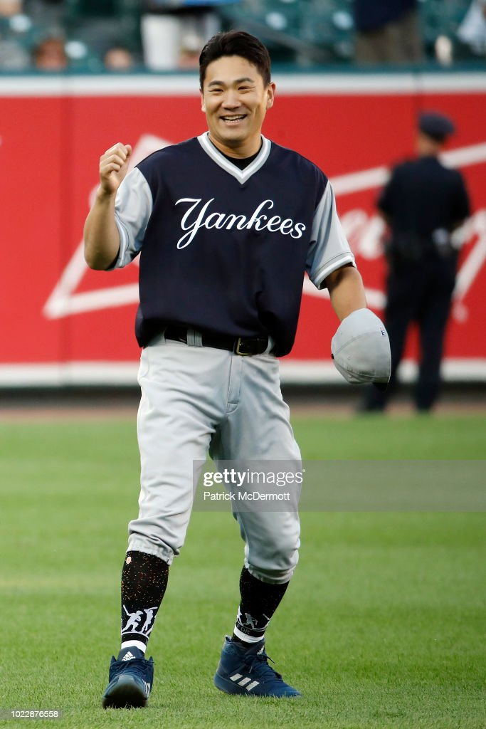 Masahiro Tanaka #19 of the New York Yankees reacts before a game against the Baltimore Orioles at Oriole Park at Camden Yards on August 24, 2018 in Baltimore, Maryland.