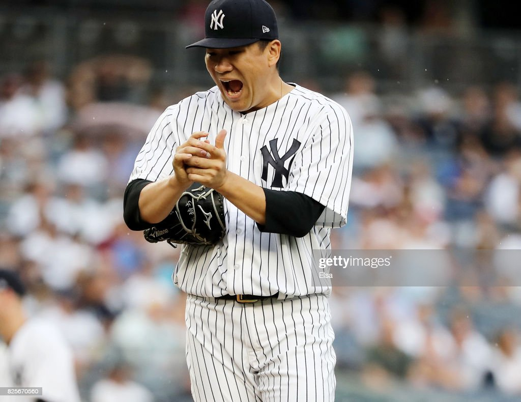 Masahiro Tanaka #19 of the New York Yankees reacts in the fourth inning against the Detroit Tigers on August 2, 2017 at Yankee Stadium in the Bronx borough of New York City.