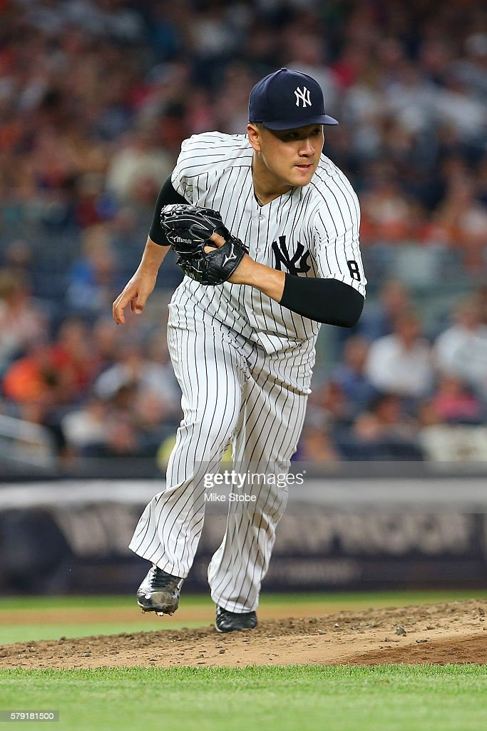 Masahiro Tanaka #19 of the New York Yankees runs to cover first base in the sixth inning against the San Francisco Giants at Yankee Stadium on July 22, 2016 in the Bronx borough of New York City. Yankees defeated the Giants 3-2.