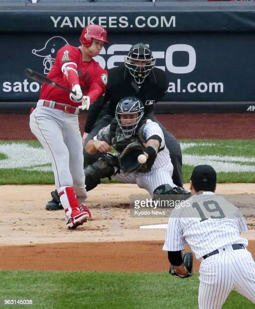 Masahiro Tanaka of the New York Yankees strikes out Shohei Ohtani of the Los Angeles Angels in the first inning for a 31 win at Yankee Stadium in New...
