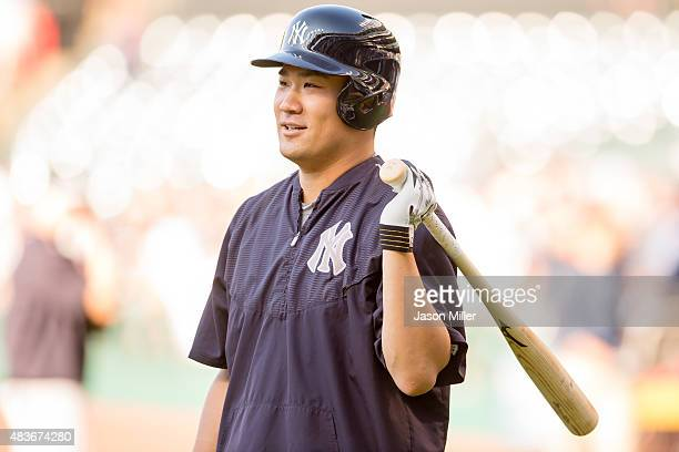 Masahiro Tanaka of the New York Yankees takes batting practice prior to the game against the Cleveland Indians at Progressive Field on August 11,...