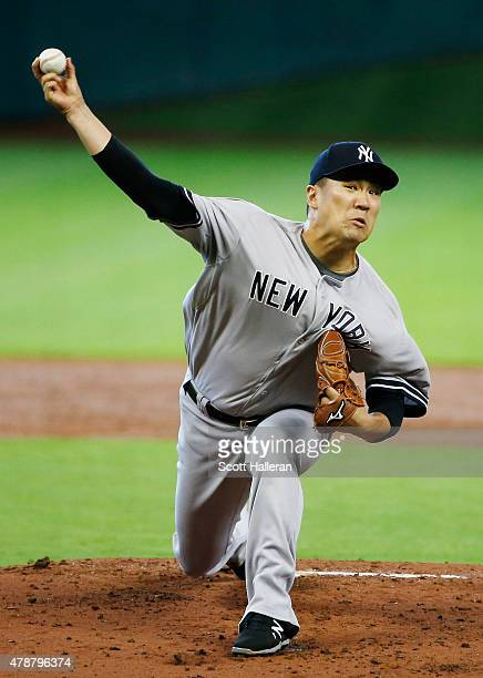 Masahiro Tanaka of the New York Yankees throws a pitch in the first inning during their game against the Houston Astros at Minute Maid Park on June...