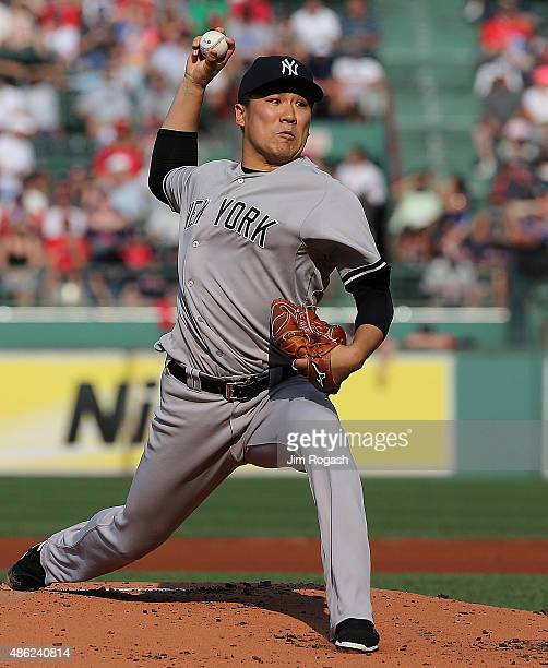 Masahiro Tanaka of the New York Yankees throws in the first inning against he Boston Red Sox at Fenway Park on September 2 2015 in Boston...